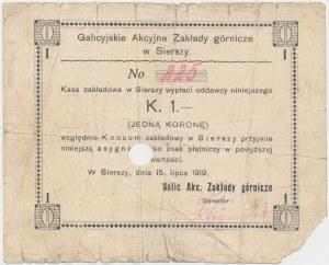 Siersza, Galicyjskie Zakłady Górnicze, 1 korona 1919