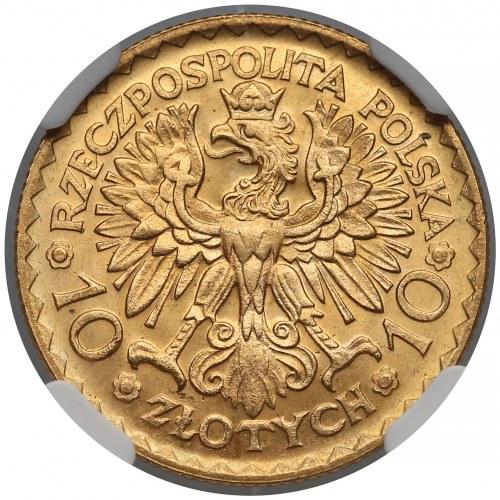 10 złotych 1925 Chrobry - NGC MS65