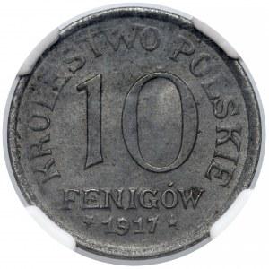 Królestwo Polskie, 10 fenigów 1917 - NGC MS61