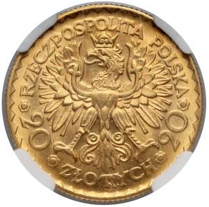 20 złotych 1925 Chrobry - NGC MS63
