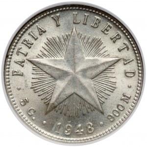Kuba, 20 centavos 1948 - NGC AU58