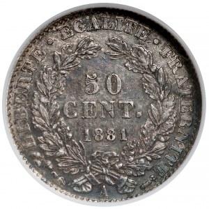 Francja, 50 centimes 1881-A - NGC AU55