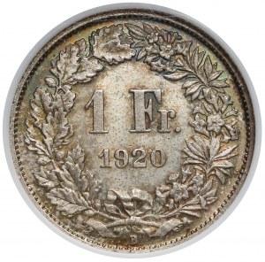 Szwajcaria, 1 frank 1920-B - NGC MS65