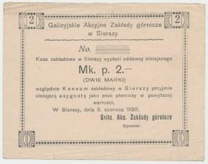 Siersza, Galicyjskie Zakłady Górnicze, 2 marki 1920 - blankiet