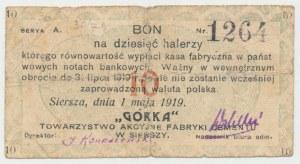 Siersza, Fabryka Cementu GÓRKA, 10 halerzy 1919 Ser.A