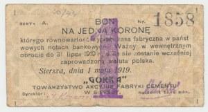 Siersza, Fabryka Cementu GÓRKA, 1 korona 1919 Ser.A