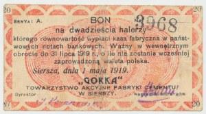 Siersza, Fabryka Cementu GÓRKA, 20 halerzy 1919 Ser.A