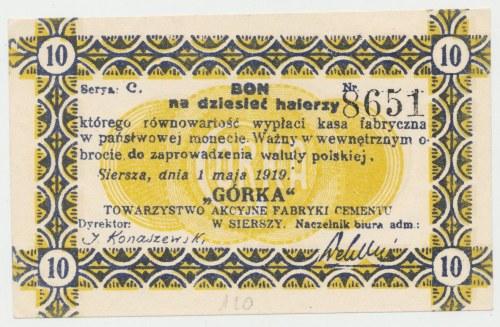 Siersza, Fabryka Cementu GÓRKA, 10 halerzy 1919 Ser.C