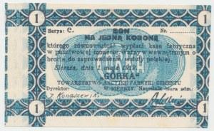 Siersza, Fabryka Cementu GÓRKA, 1 korona 1919 Ser.C - blankiet