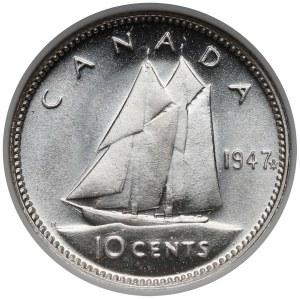 Kanada, 10 centów 1947 - NGC MS65