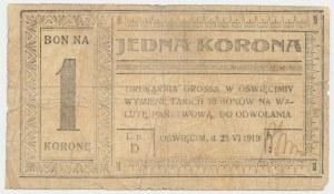 Oświęcim, Drukarnia Grossa, 1 korona 1919 - D