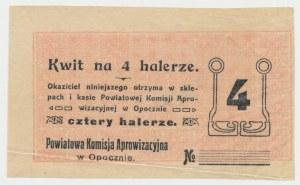Opoczno, Powiatowa Komisja Aprowizacyjna, 4 halerze (1916) - blankiet