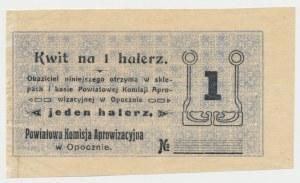 Opoczno, Powiatowa Komisja Aprowizacyjna, 1 halerz (1916) - blankiet