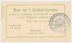 Nowy Sącz, 1 korona 1918 - czerwiec - stempel okrągły