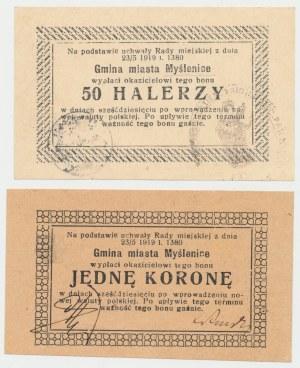 Myślenice, 50 halerzy i 1 korona 1919 - zestaw (2szt)