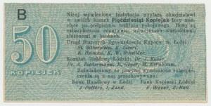 Łódź, Urząd Starszych Zg. Kupców, 50 kopiejek (1914) - wystawca stemplem - B