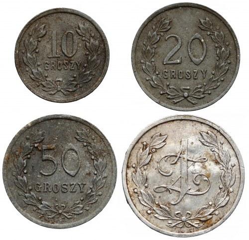 Wilno, Herbaciarnia Żołnierska 6 P.P. Legionów - KOMPLET od 10 groszy do 1 złoty (4szt)