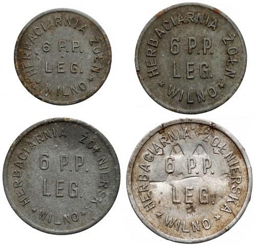 Wilno, Herbaciarnia Żołnierska 6 P.P. Legionów, KOMPLET od 10 groszy do 1 złoty (4szt)