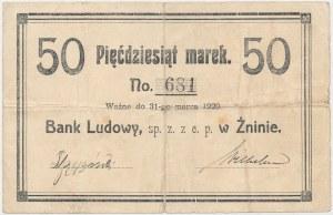 Żnin, Bank Ludowy, 50 marek (ważne do 31 marca 1920)