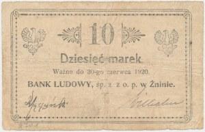 Żnin, Bank Ludowy, 10 marek (ważne do 30 czerwca 1920)