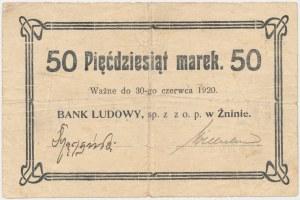 Żnin, Bank Ludowy, 50 marek (ważne do 30 czerwca 1920) - ODWROTKA