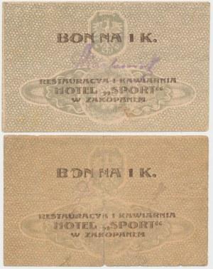 Zakopane, Hotel SPORT, 1 korona (1919) - różne stemple - zestaw (2szt)