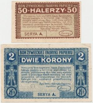 Żywiec, Fabryka Papieru, 50 halerzy i 2 korony (1919) - zestaw (2szt)