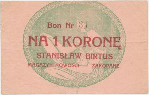 Zakopane, S. Birtus Magazyn Nowości, 1 korona (1919)