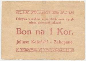 Zakopane, J. Kotoński Fabryka wyrobów masarskich..., 1 korona (1919)