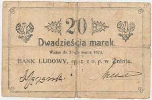 Żnin, Bank Ludowy, 20 marek (ważne do 31 marca 1920) - ODWROTKA