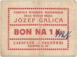 Zakopane, J. Galica Fabryka Wyrobów Masarskich..., 1 marka / 1 korona (1919)