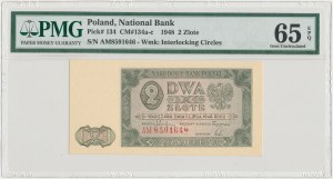 2 złote 1948 - AM - uszkodzenie numeratora - PMG 65 EPQ