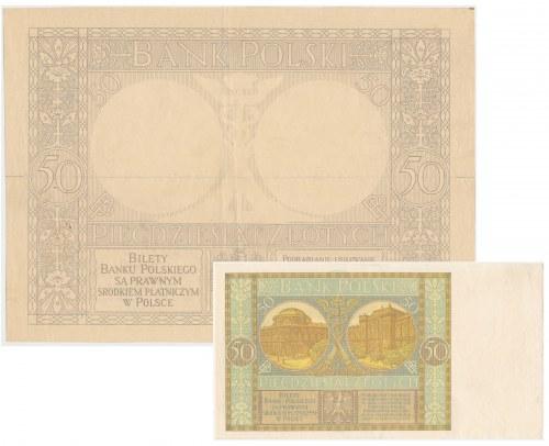 DRUK PRÓBNY 50 złotych 1925/29 - elementy rewersu w powiększeniu