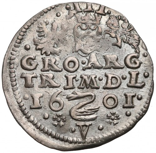 Zygmunt III Waza, Trojak Wilno 1601 - V pod Łabędziem - rzadki