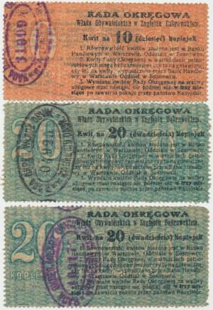 Zagłębie Dąbrowskie, 10 i 20 kopiejek 1914 - zestaw (3szt)