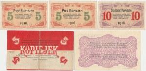 Częstochowa, 5 i 10 kopiejek 1914-16 zestaw (5szt)