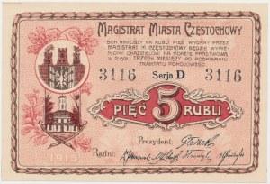 Częstochowa, 5 rubli 1915 Serja D