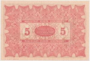 Częstochowa, 5 rubli 1915 Serja D z nadwyżki kasowej