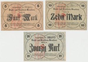 Grudziądz (Graudenz), 5, 10 i 20 mk (1920) w walucie polskiej
