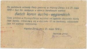 Krynica Zdrój, 2 korony 1919 ...węgierskich - Ser. D