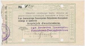 Zawiercie, 2-gie T-wo Poż.-Oszczędn., 20 kopiejek 1914 - blankiet z perforacją