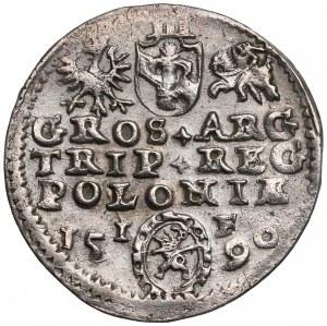 Zygmunt III Waza Trojak Olkusz 1590 - Lewart w ozdobnej