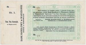 Sosnowice, Dąbrowskie T-wo Poż.-Oszczędn., 3 ruble 1914 - z grzbietem