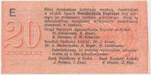 Łódź, Urząd Starszych Zg. Kupców, 20 kopiejek (1914) - wystawca drukiem - E