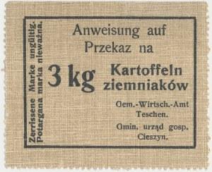 Cieszyn, Okupacja - kartka na 3 kg ziemniaków