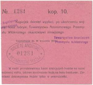 Częstochowa, T-wo Anonimowe Przemysłu Włóknistego, 10 kopiejek 1914