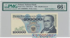 100.000 złotych 1990 - AS 0000004 - PMG 66 EPQ