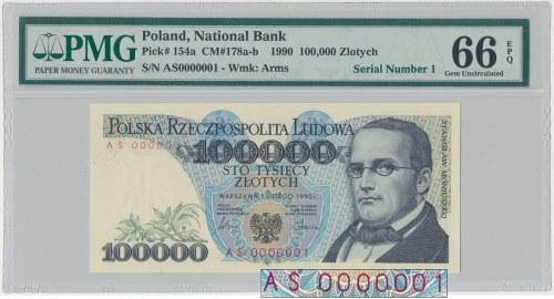 100.000 złotych 1990 - AS 0000001 - PMG 66 EPQ
