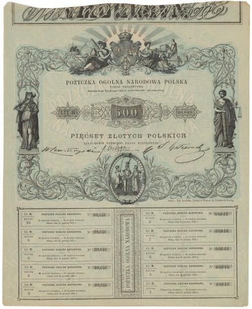 Powstanie styczniowe, Pożyczka Ogólna Narodowa Polska, 500 zł 1863