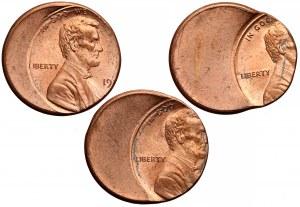 USA, Lincoln cent - DESTRUKTY - zestaw (3szt)